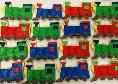 Train Cookies in Red, Blue and Green