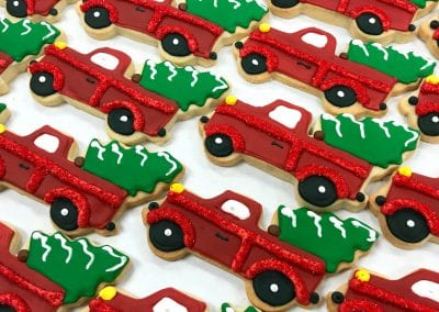 Vintage Red Truck with Christmas Tree in Back  | 3 Sweet Girls Cakery