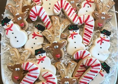Reindeer, Candy Cane and Snowman Holiday Cookie Platter | 3 Sweet Girls Cakery