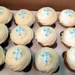 White Cupcakes with Blue Crosses