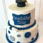 Navy, Silver and White Grad Cake