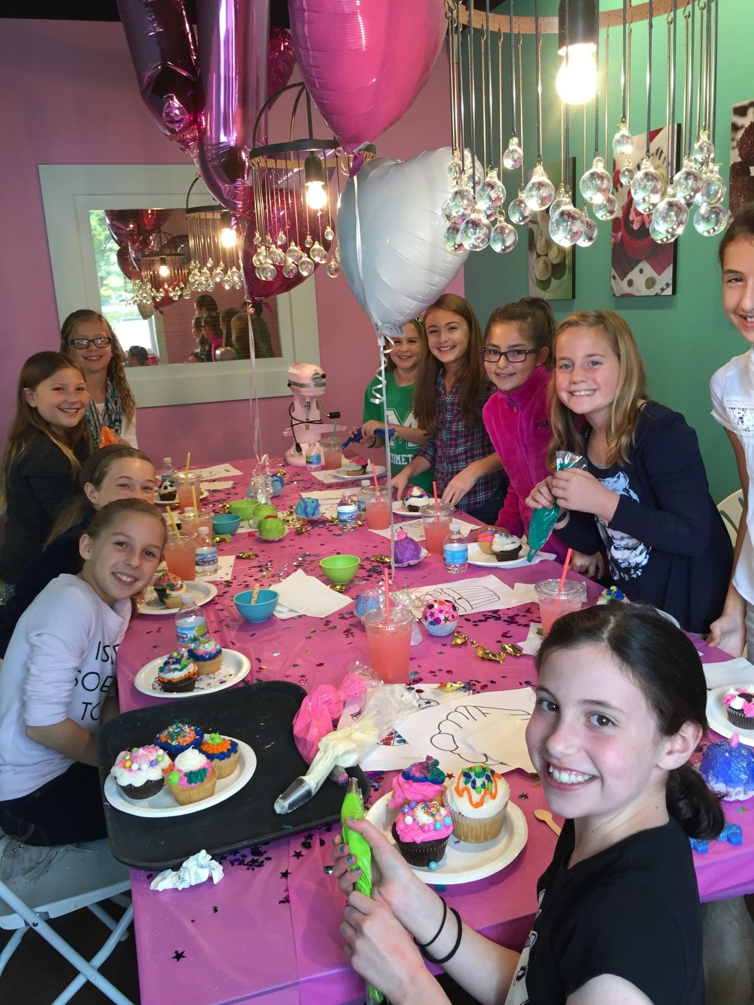 cupcake decorating party in the party room - Cupcake Decorating Party