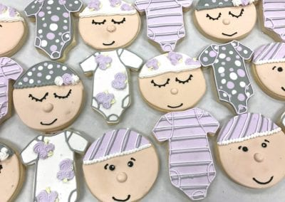 Lavender and Gray Baby Cookies