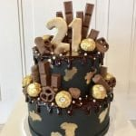 Black and Gold Chocolate Adorned Cake
