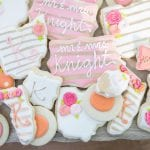 Coral, Pink and Gold Wedding Cookies | 3 Sweet Girls Cakery
