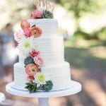 Rustic 3 Tier Wedding Cake with Fresh Flowers
