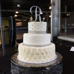 Elegant White Silver Wedding Cake
