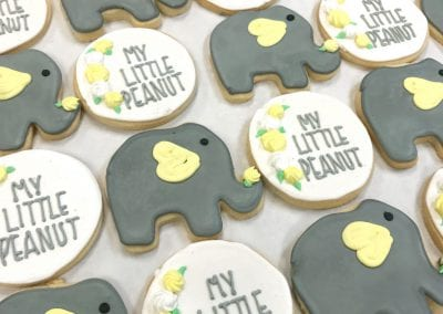 Elephant Baby Shower Cookies with Yellow Accents | 3 Sweet Girls Cakery