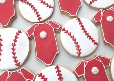 Red Baby Onsie and Baseball Cookies | 3 Sweet Girls Cakery
