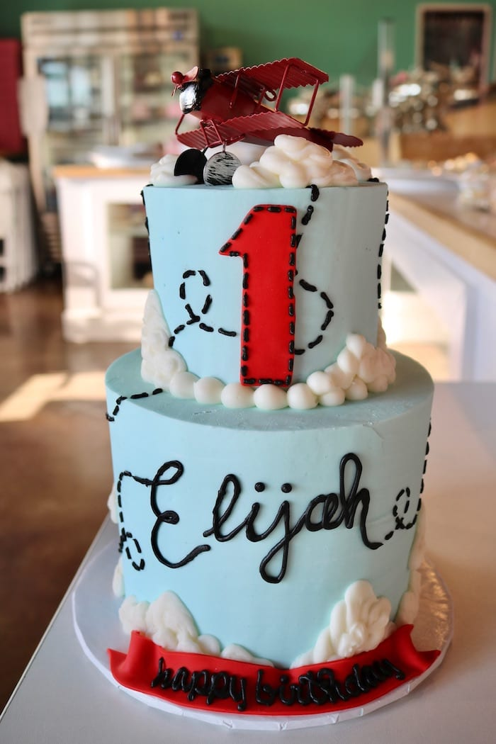 2 Tier Airplane First Birthday Cake | 3 Sweet Girls Cakery
