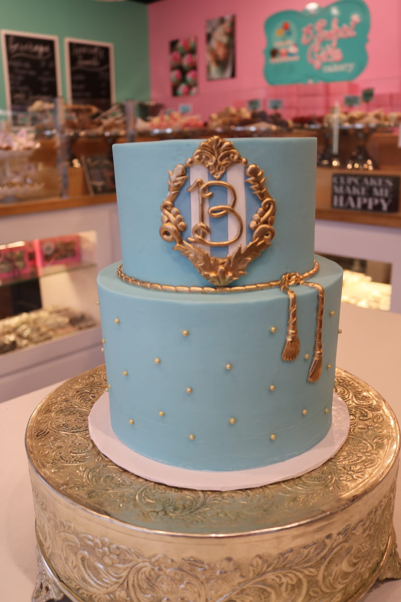 2 Tier Blue Cake with Gold Pearls and Monogram | 3 Sweet Girls Cakery