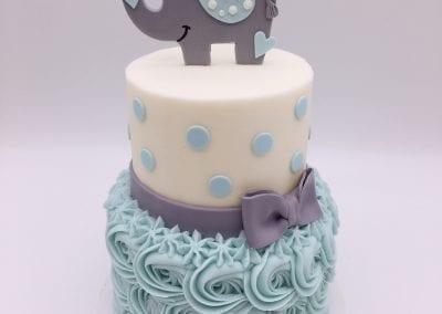 2 Tier Blue Rosette Elephant Baby Shower Cake   3 Sweet Girls Cakery