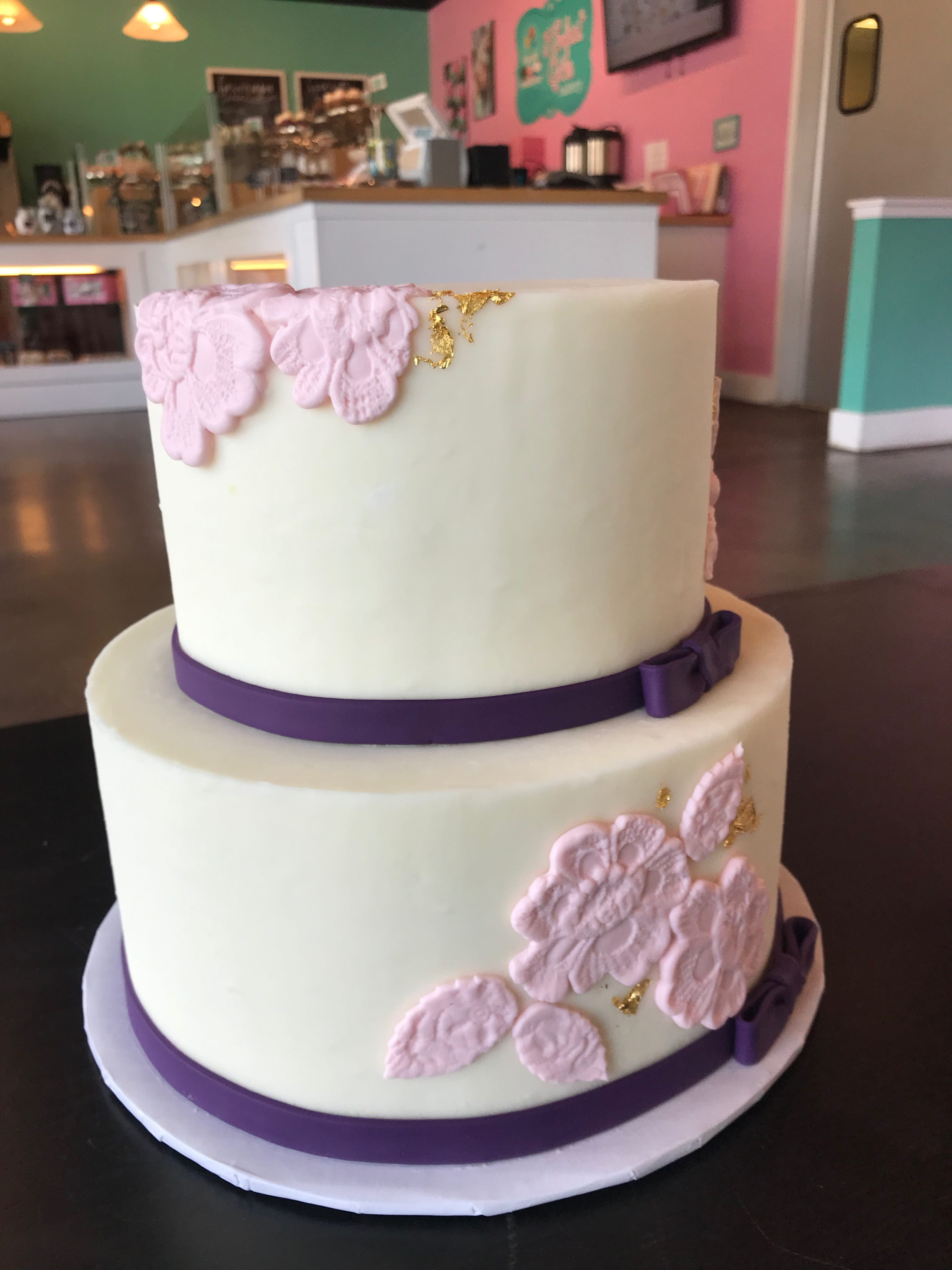 2 Tier Embossed Cake with Pink, Purple and Gold | 3 Sweet Girls Cakery