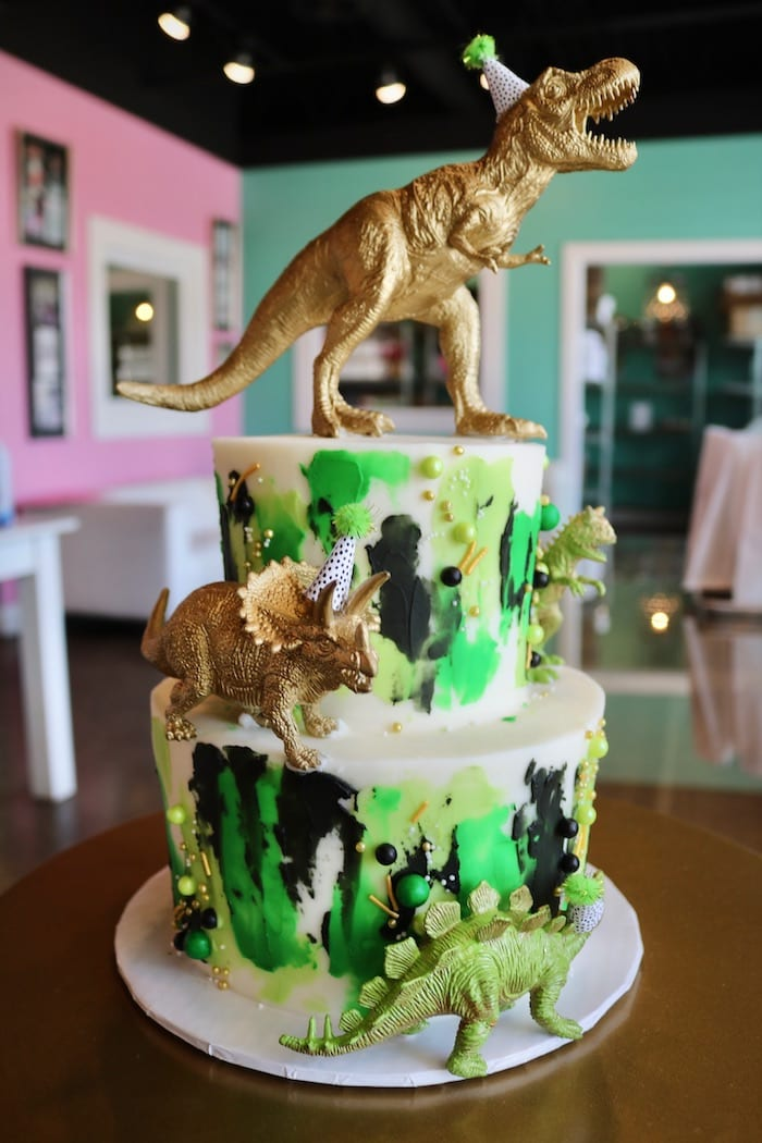 2 Tier Green and Gold Dinosaur Cake | 3 Sweet Girls Cakery