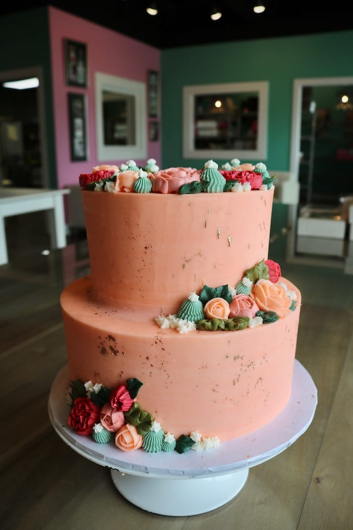 2 Tier Peach Cake with Flowers, Succulants and Gold Splatter | 3 Sweet Girls Cakery