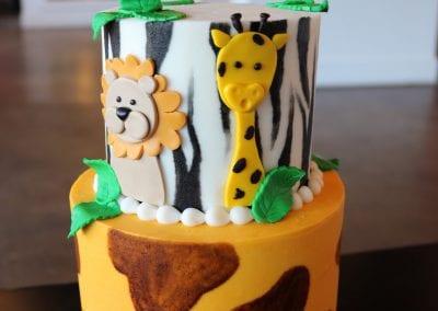 2 Tier Safari Cake with Giraffe and Zebra Print | 3 Sweet Girls Cakery