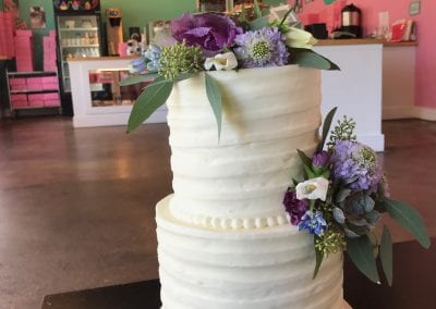 2 Tier TExtured Buttercream Cake with Fresh Flowers and Greenery   3 Sweet Girls Cakery