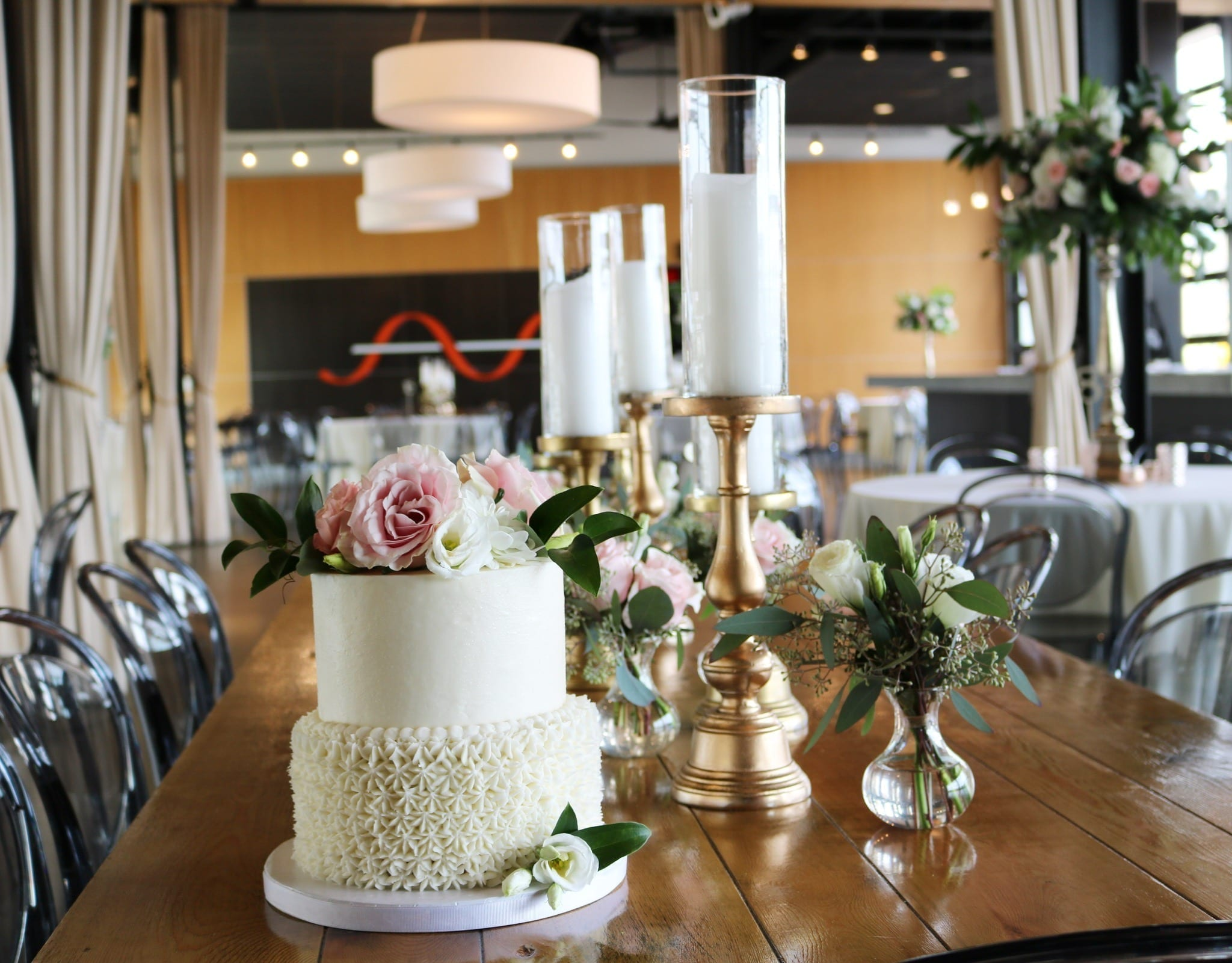 2 Tier Wedding Cake at New Riff | 3 Sweet Girls Cakery