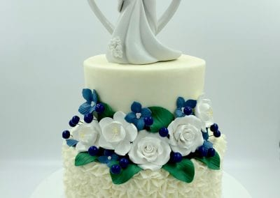 2 Tier Wedding Cake with Navy and White Flowers | 3 Sweet Girls Cakery