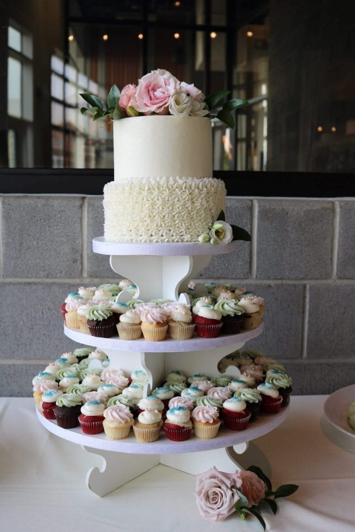 2 Tier Wedding Cupcake Tower | 3 Sweet Girls Cakery