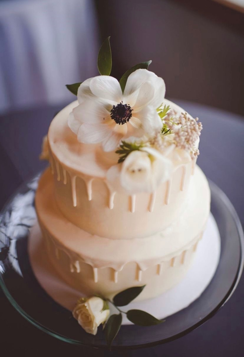 2 Tier White Drip Wedding Cake | 3 Sweet Girls Cakery