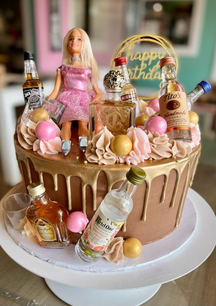 21st Birthday Alcohol Themed Cake   3 Sweet Girls Cakery