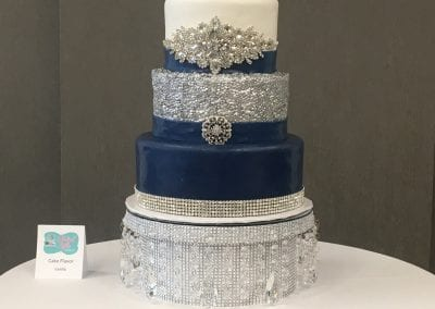 3 Tier Navy and Silver Wedding Cake with Bling | 3 Sweet Girls Cakery