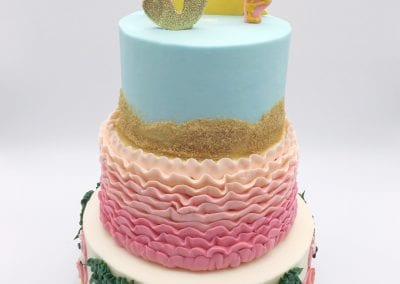 3 Tier Pink Flamingo Beach Cake for Pool Party | 3 Sweet Girls Cakery