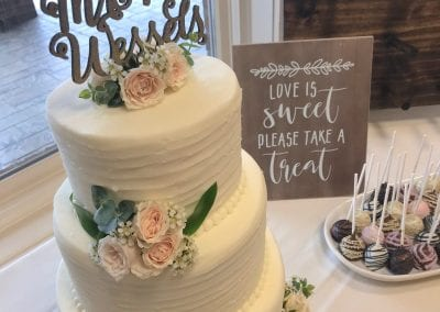 3 Tier Textured Buttercream Wedding Cake and Cake Pops | 3 Sweet Girls Cakery