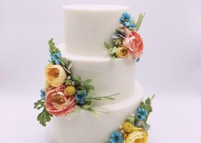 3 Tier Wedding Cake with Pastel Flowers | 3 Sweet Girls Cakery