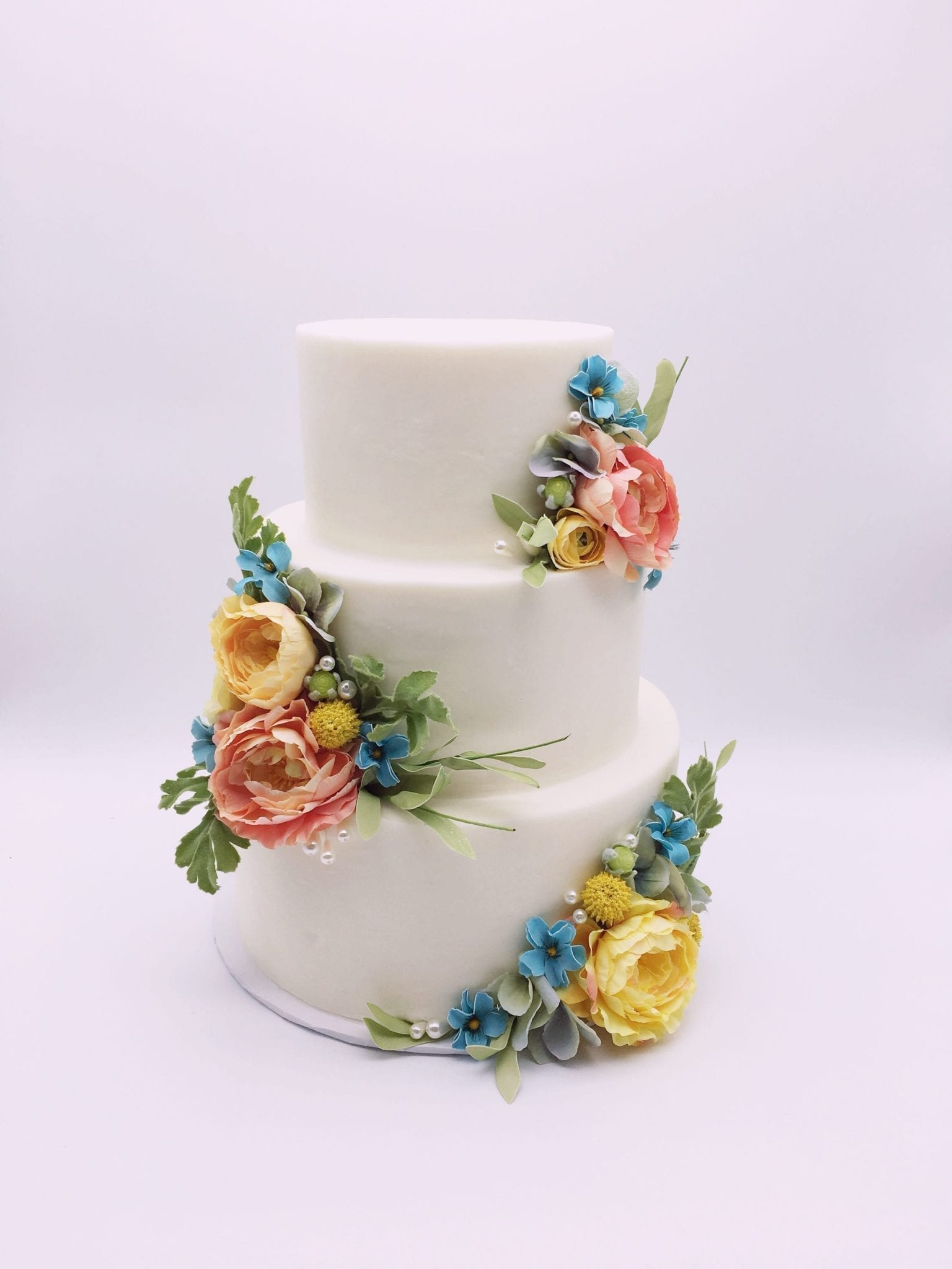 3 Tier Wedding Cake with Pastel Flowers | 3 Sweet Girls Cakery