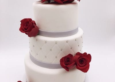 3 Tier Wedding Cake with Silver Accents and Red Roses | 3 Sweet Girls Cakery