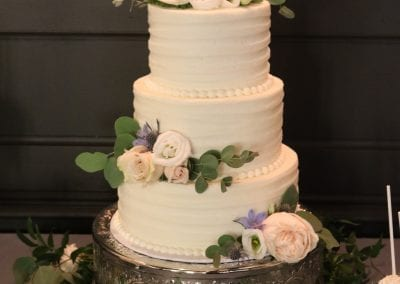 3 Tier Wedding Cake with Textured Buttercream and Fresh Flowers | 3 Sweet Girls Cakery