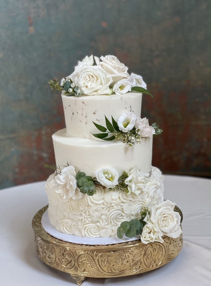 3 Tier White and Gold Wedding Cake | 3 Sweet Girls Cakery