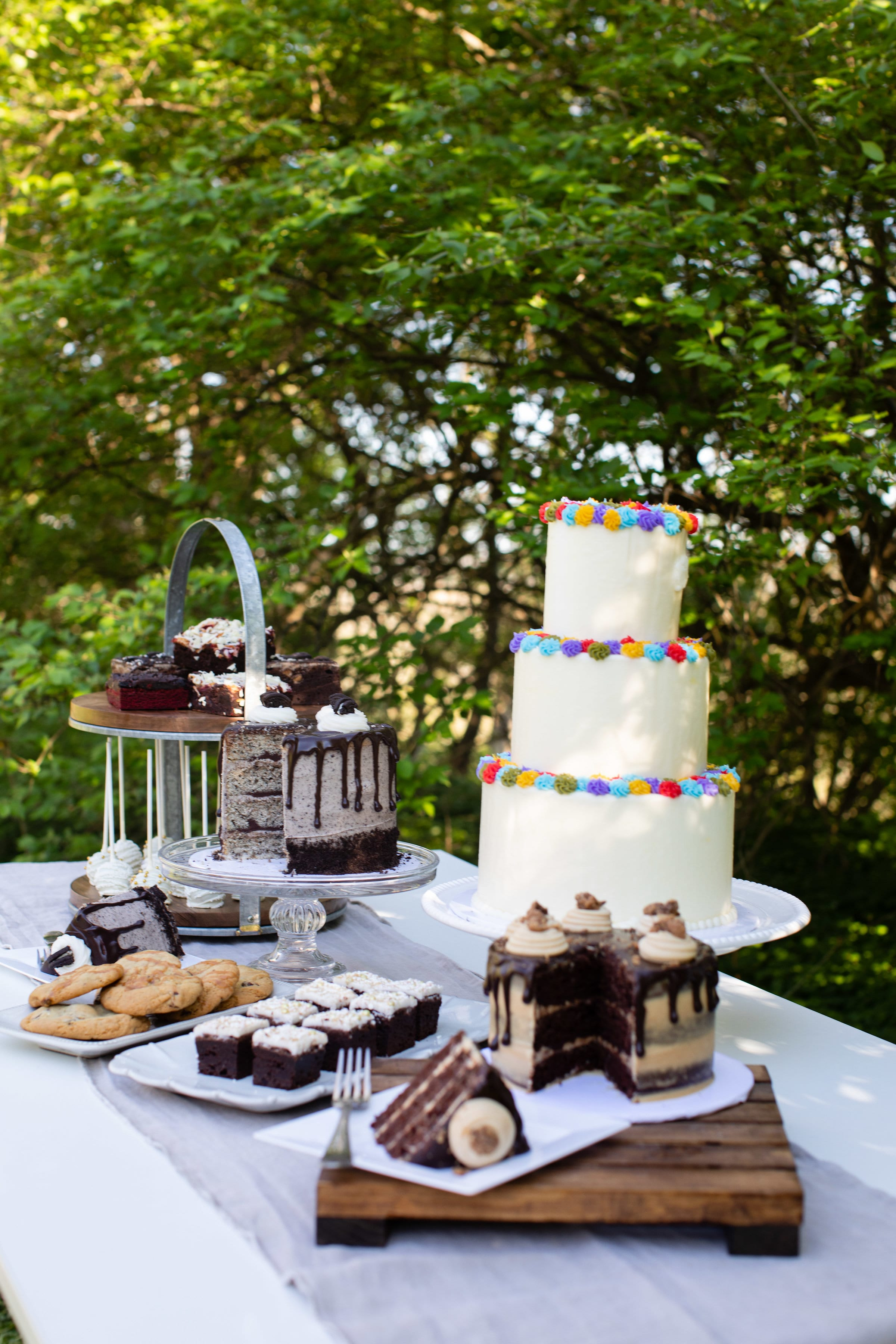Rustic Dessert table with 3 Tier Colorful Cake | 3 Sweet Girls Cakery