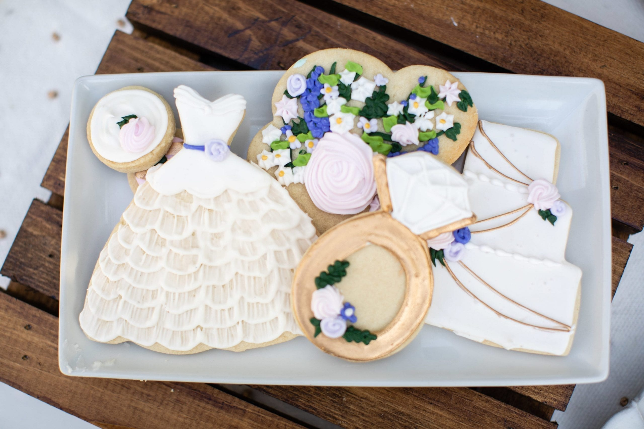White and Gold Wedding Shower Cookies | 3 Sweet Girls Cakery