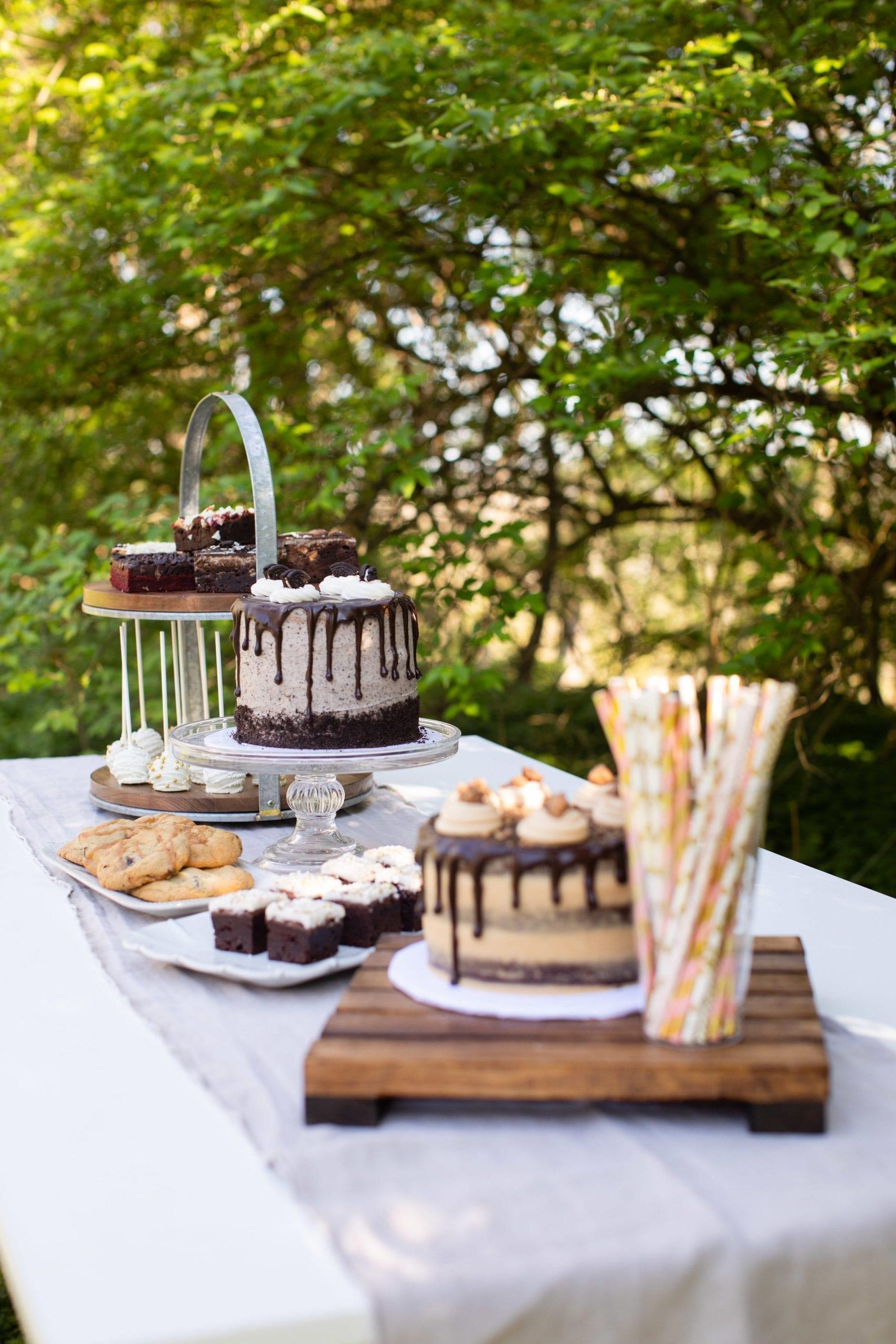 Outdoor Casual Wedding Dessert Display   3 Sweet Girls Cakery