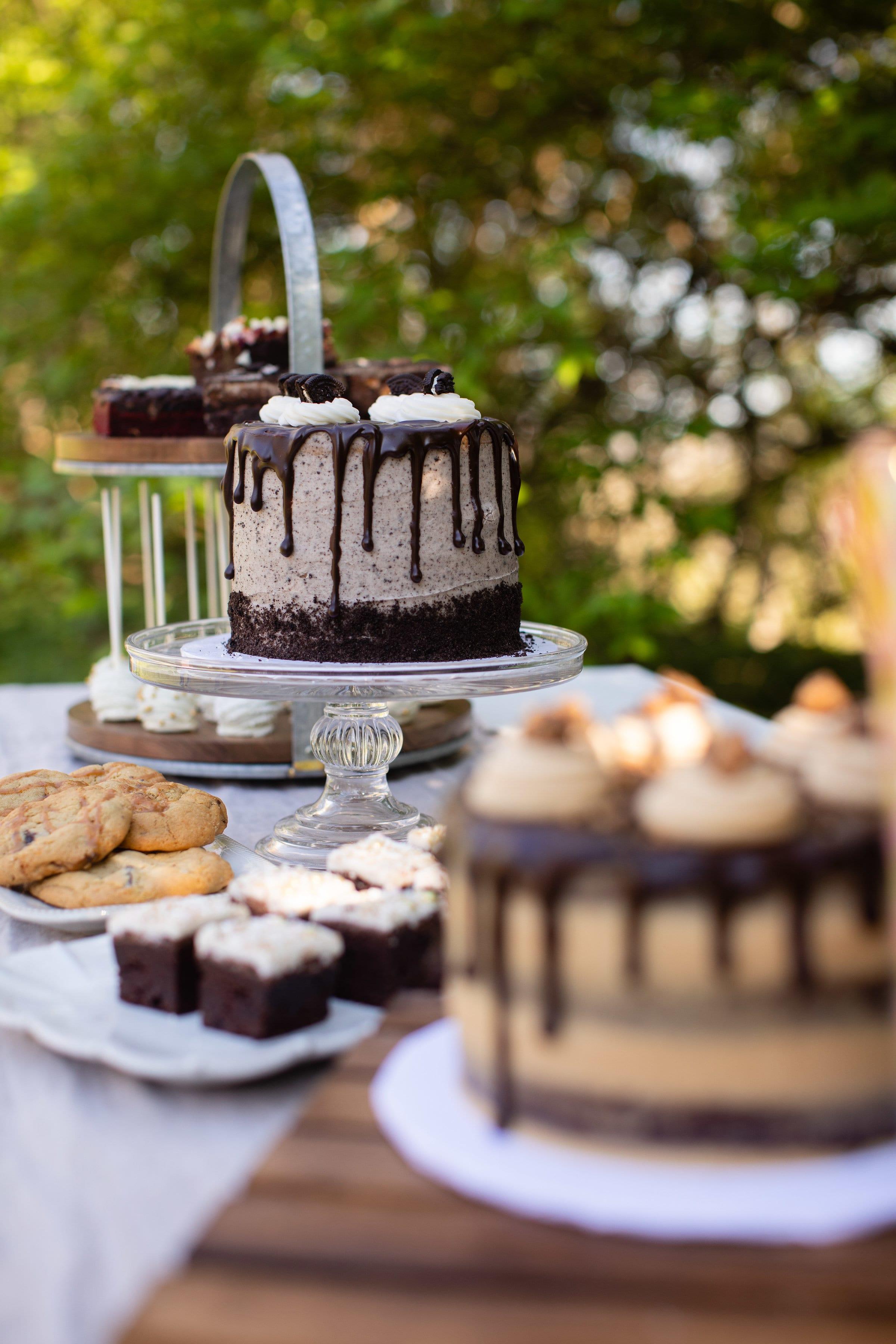 Casual Outdoor Wedding Cake Dessert Table | 3 Sweet Girls Cakery