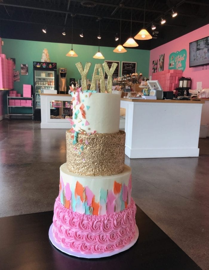 4 Tier Pink, Teal and Gold YAY Celebration Cake | 3 Sweet Girls Cakery