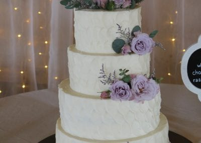 4 Tier Textured Wedding Cake with Lavender Flowers | 3 Sweet Girls Cakery