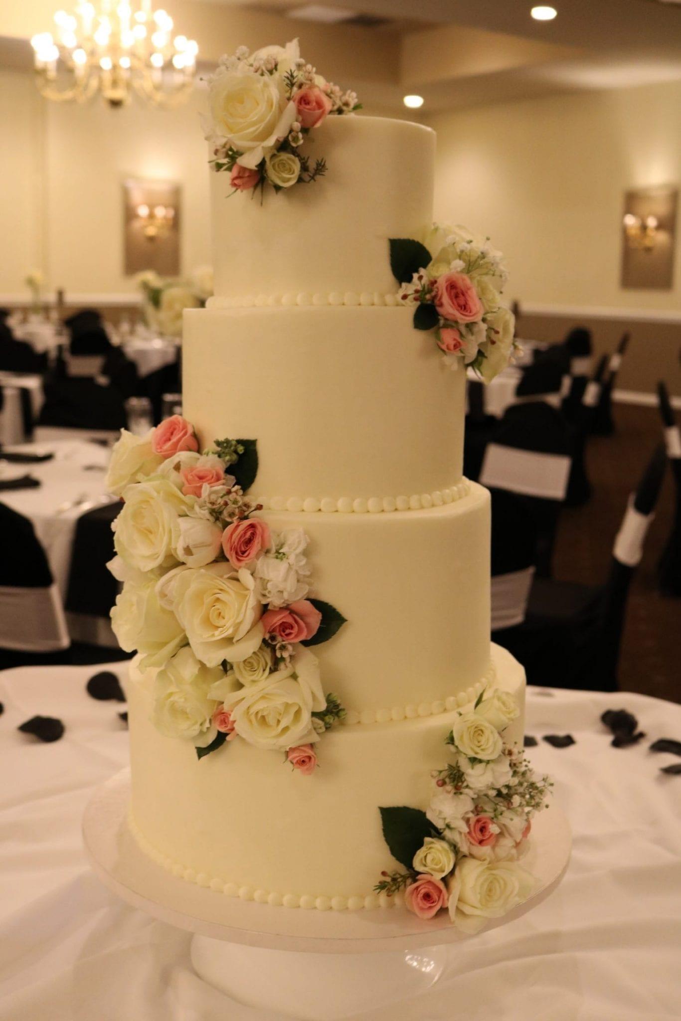4 Tier Wedding Cake with Fresh Flowers | 3 Sweet Girls Cakery