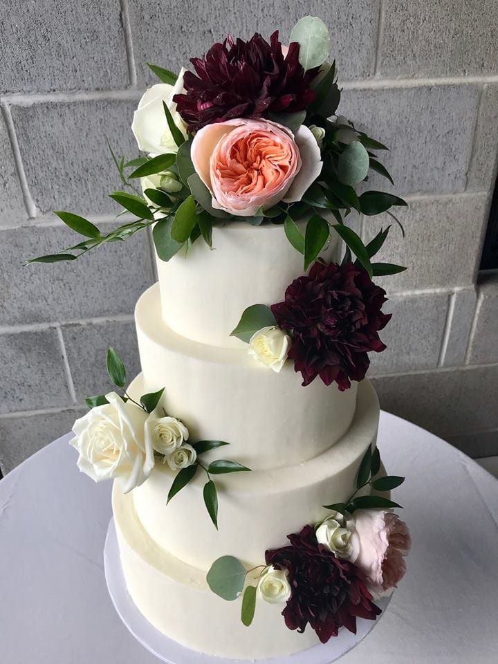 4 Tier Smooth White Wedding Cake with Fresh Flowers | 3 Sweet Girls Cakery