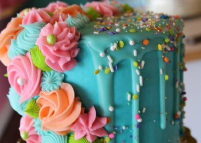 Aqua Cake with Colorful Rosettes and Confetti | 3 Sweet Girls Cakery