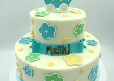 Aqua, Green and Yellow Flower Baby Shower Cake | 3 Sweet Girls Cakery