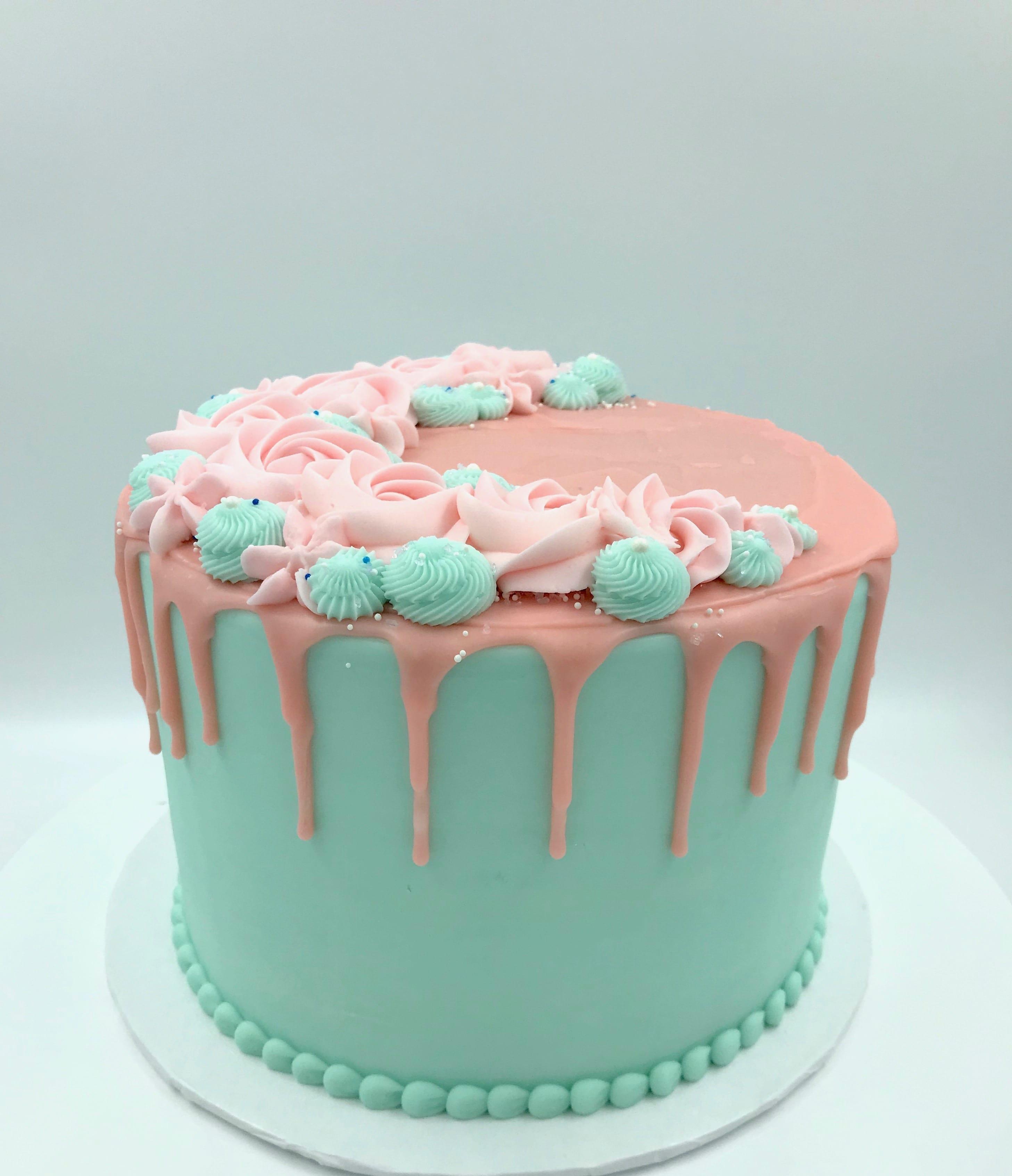 Aqua and Pink Drip Cake   3 Sweet Girls Cakery