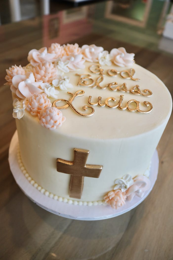 Baptism Cake in Pink, White and Gold   3 Sweet Girls Cakery