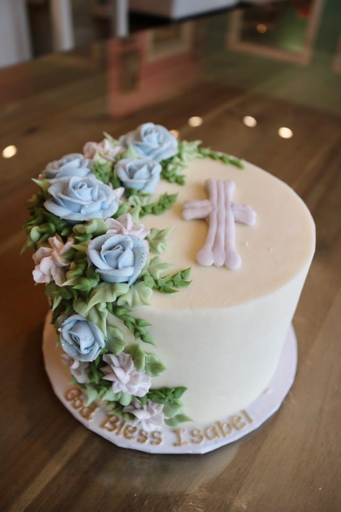 Baptism Cake with Blue Roses   3 Sweet Girls Cakery