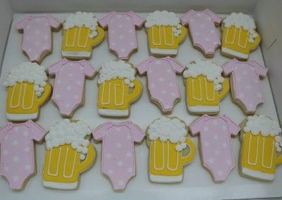 Beer Mug and Pink Baby Onesie Cookies | 3 Sweet Girls Cakery