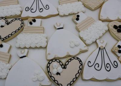 Beige, Black and WHite Wedding Cookies | 3 Sweet Girls Cakery