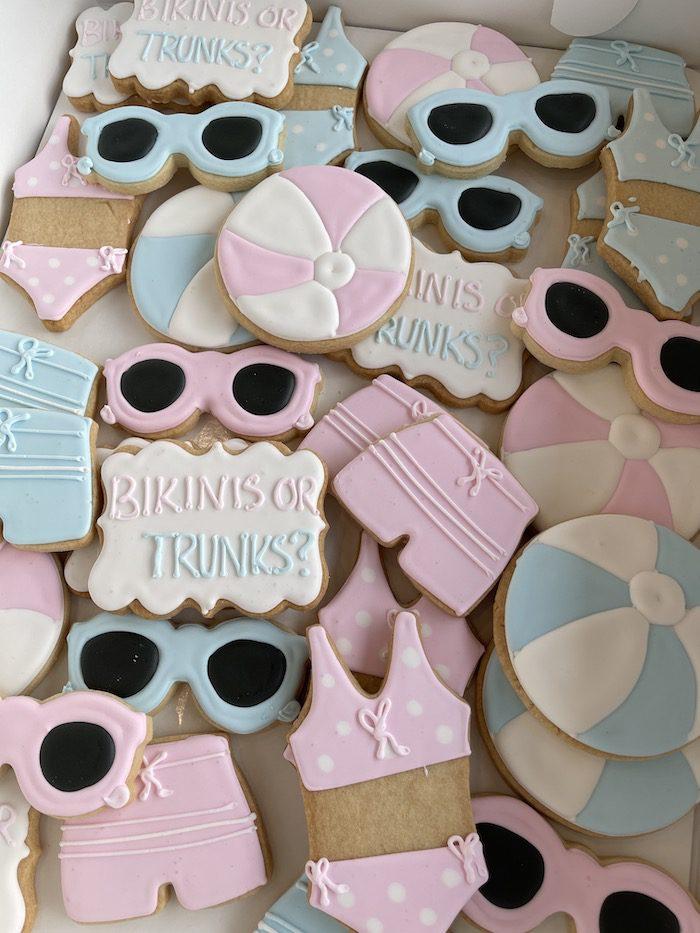 Bikinis or Trunks Gender Reveal Cookies   3 Sweet Girls Cakery